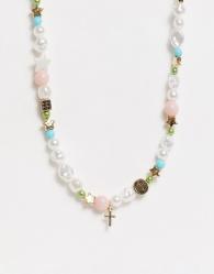 ASOS DESIGN - Kralenketting met hangertjes van dobbelstenen en smileys in pastelkleuren-Goud