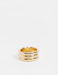ASOS DESIGN - Ring met drie geribbelde rijen in goudkleur