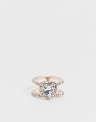 ASOS DESIGN - Ring met kristallen hart in roségoudkleur-Koper
