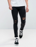 Jack & Jones Intelligence - Skinny-fit jeans met scheuren in zwarte wassing