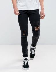 Jack & Jones Intelligence - Skinny-fit jeans met scheuren in zwarte wassing