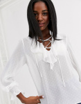 New Look - Blouse met ruches in crème