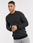 Selected Homme - Gebreide trui met contrasterend breisel in zwart