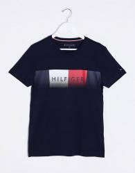 Tommy Hilfiger - T-shirt met vervaagd logo op de borst in marineblauw