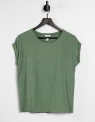 Vero Moda - Aware - T-shirt met lage ronde hals in kaki-Groen