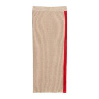 Mango grofgebreide rok met contrastbies bruin/rood