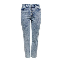 ONLY Onlemily High-waist Straight Cropped Straight Fit Jeans Dames Blauw