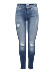 ONLY Onlblush Life Mid Rw Ank Destr Skinny Jeans Dames Blauw