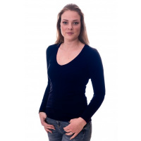 Claesens Women T-Shirt V-Neck l/s Navy Blue ( 8011 )