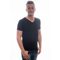 Petrol Industries T-Shirt Basic V-Neck Bodyfit Two Pack Black