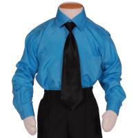 Kinderoverhemd lange mouw turquoise-158/164